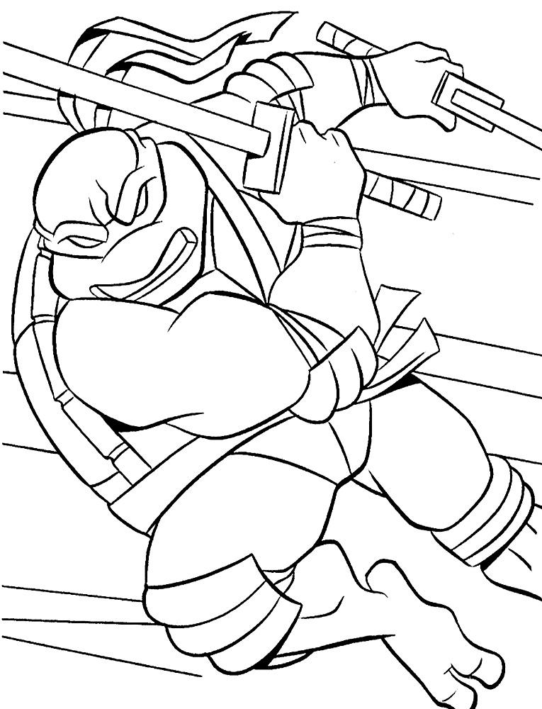Черепашка ниндзя атакует Раскраски для детей мальчиков