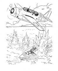 Обстрел корабля с самолета Раскраски для детей мальчиков
