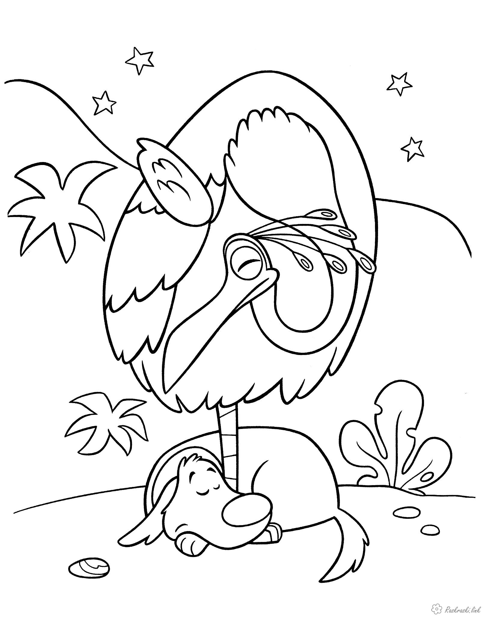 Собака спит обняв птицу за ногу, ночь, звезды, лес Скачать раскраски для мальчиков