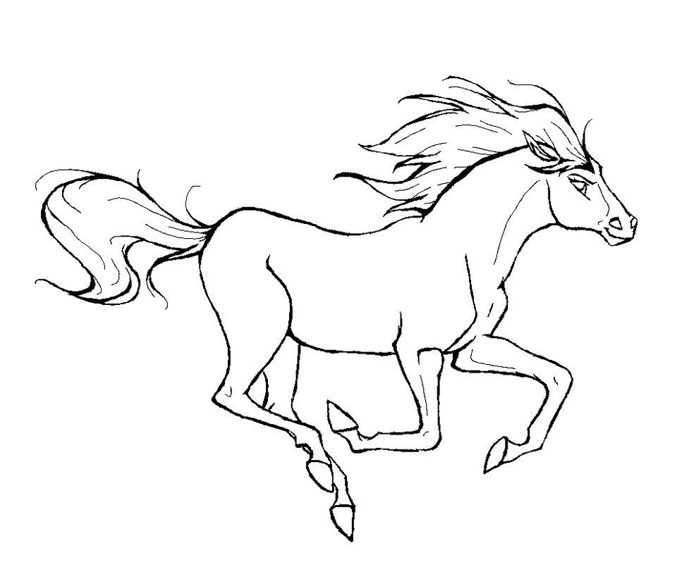 Лошадь мчится с развивающимися хвостой и гривой на ветру Скачать раскраски для мальчиков