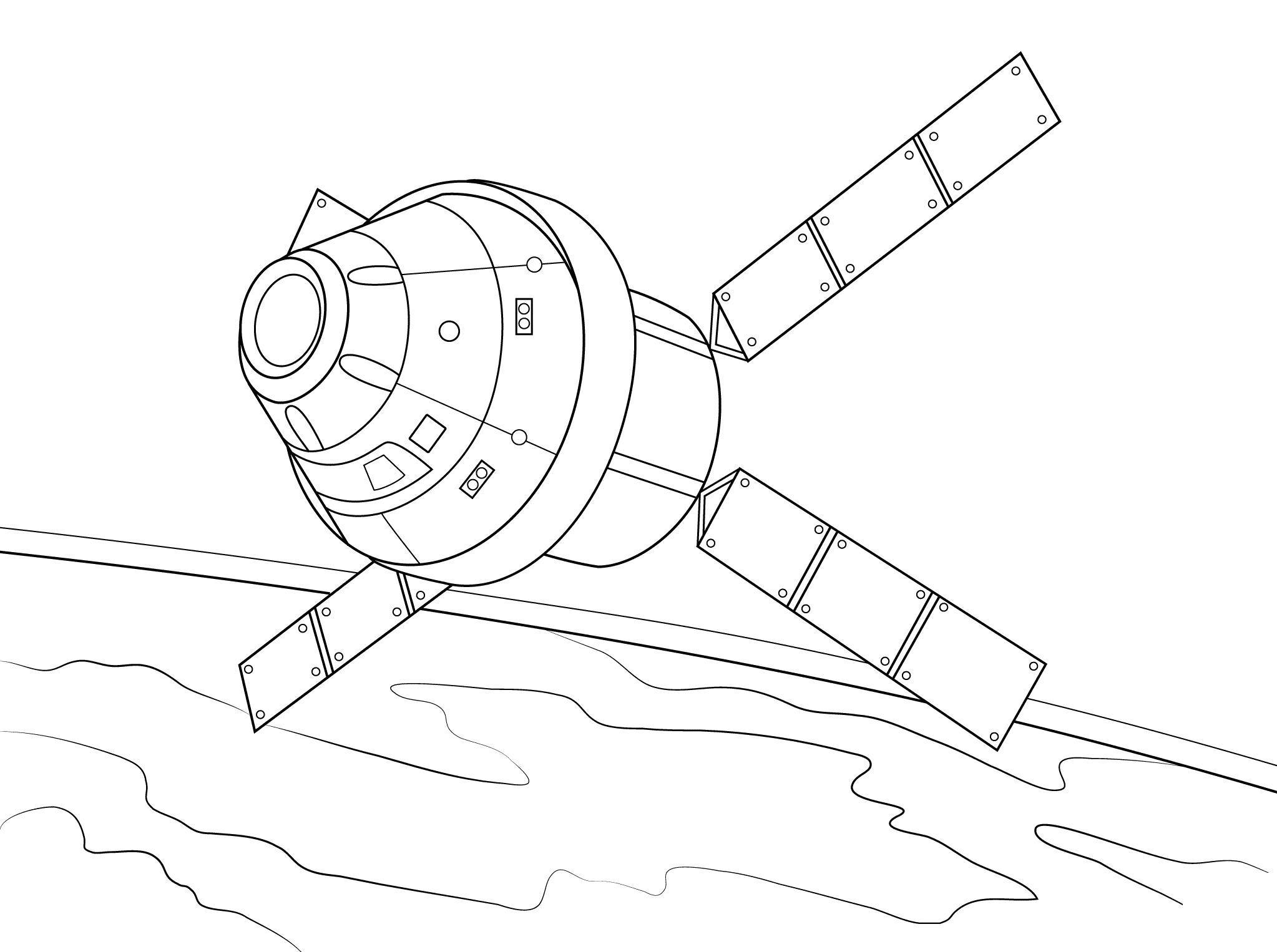 Спутник на орбите планеты Скачать раскраски для мальчиков