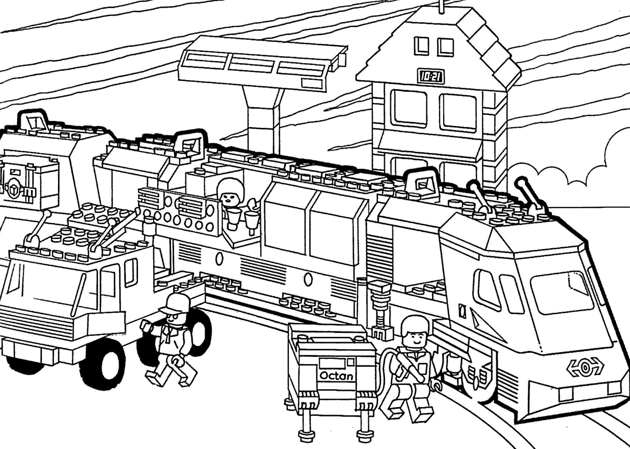 Лего поезд Распечатать раскраски для мальчиков