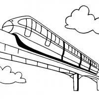 Поезд едет по мосту Распечатать раскраски для мальчиков