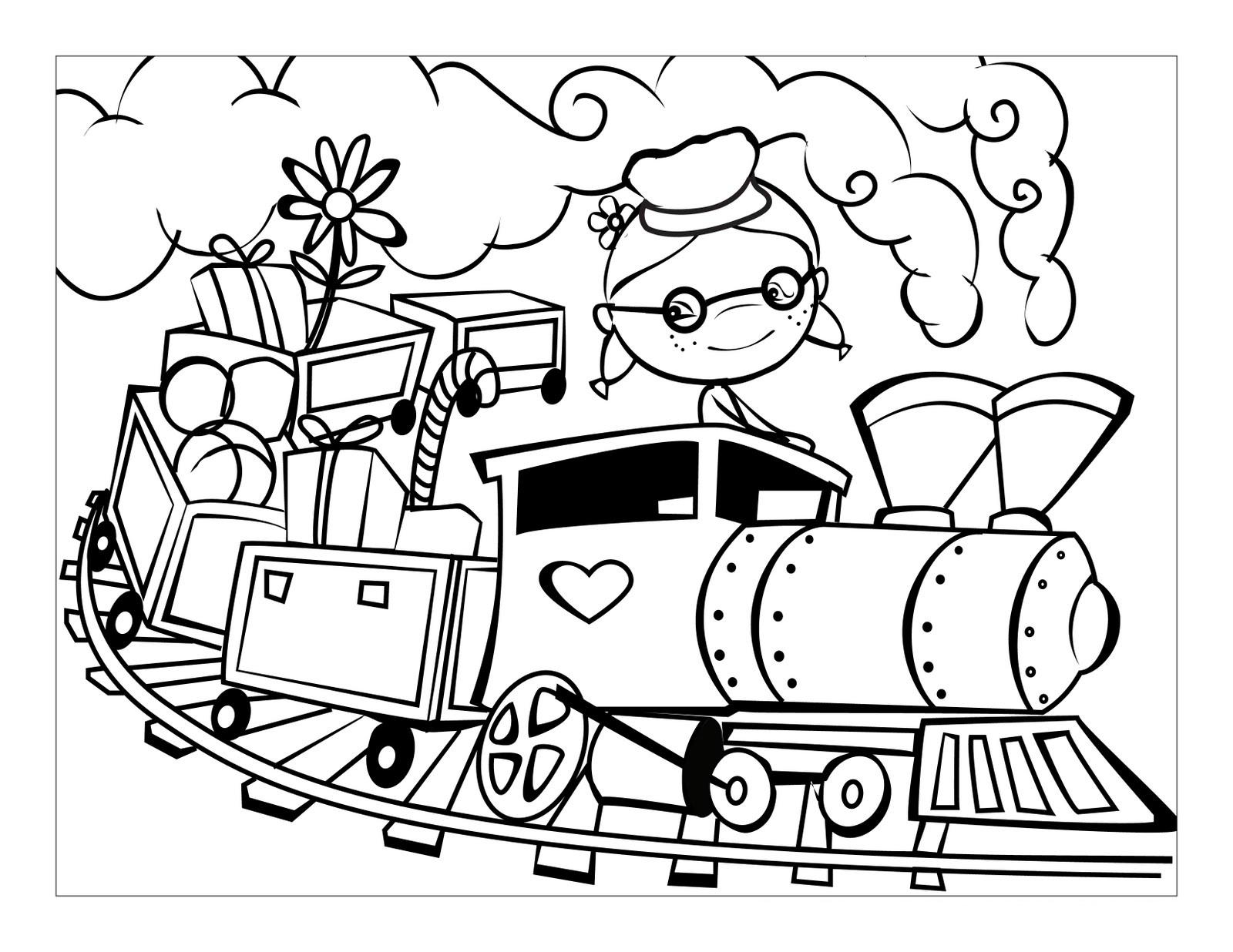 Поезд с игрушками Распечатать раскраски для мальчиков