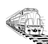 Поезд на рельсах Распечатать раскраски для мальчиков