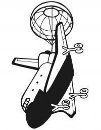 Космический шаттл с  парашютом и выпущенными шасси Раскраски для мальчиков