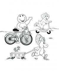 Динозавры, велосипед, самокат, телега Раскраски для детей мальчиков