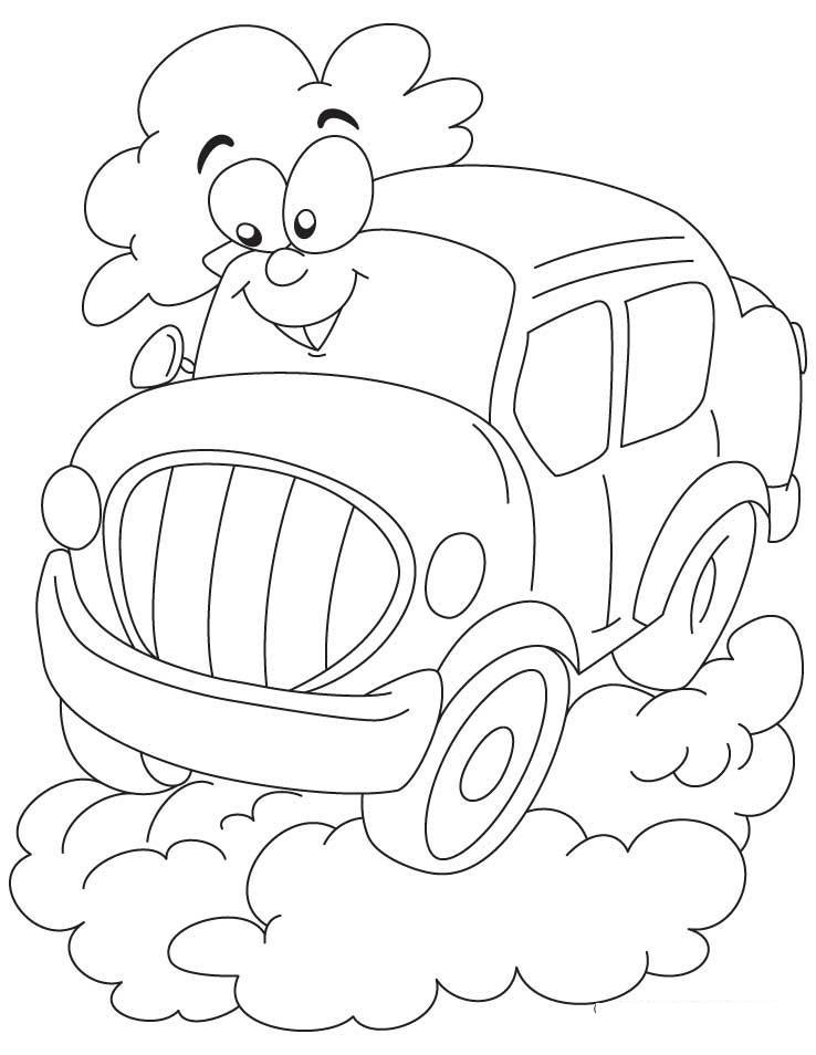Автомобиль на облаке Раскраски для детей мальчиков
