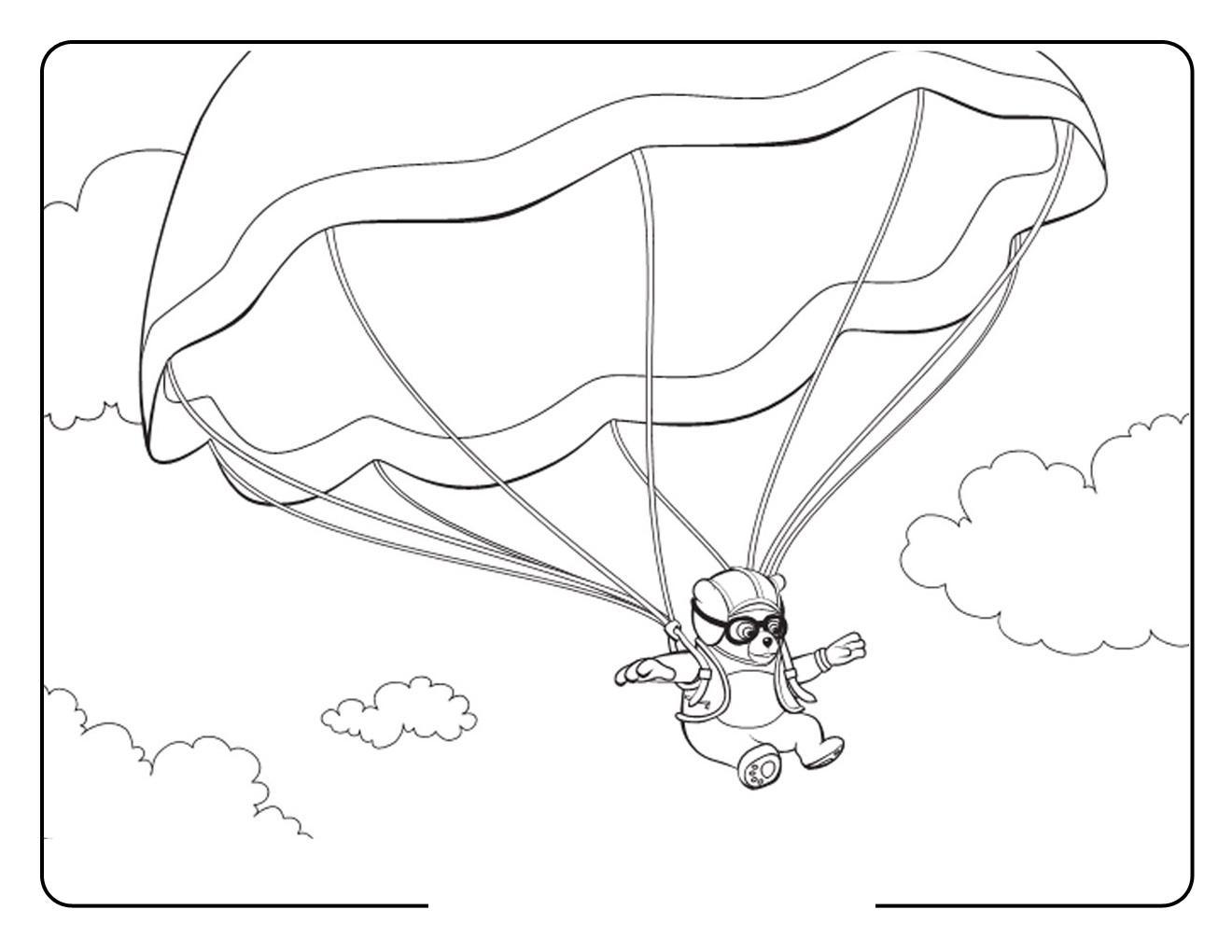 Медведь парашютист, небо, облака Раскраски для мальчиков бесплатно