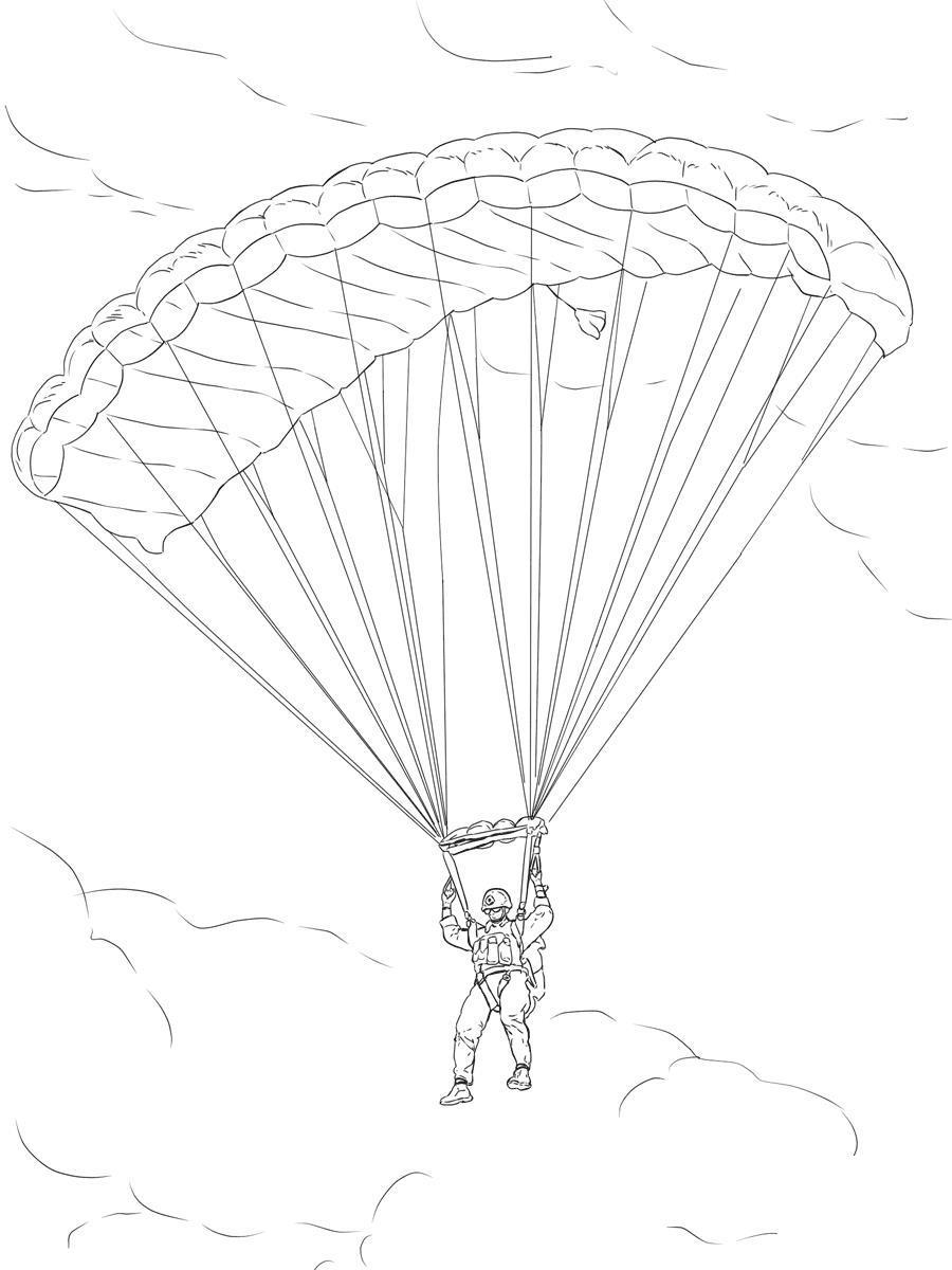Парашютист на длинном прямоугольном парашюте Раскраски для мальчиков бесплатно