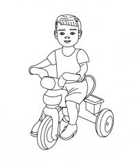 Мальчик на трехколесном велосипеде Раскраски для детей мальчиков