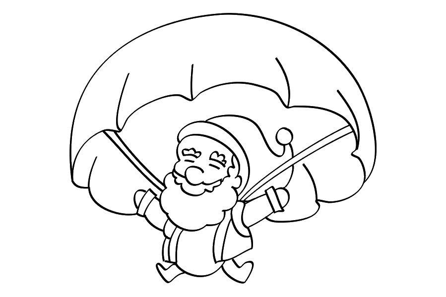 Санта клаус на парашюте Раскраски для мальчиков бесплатно