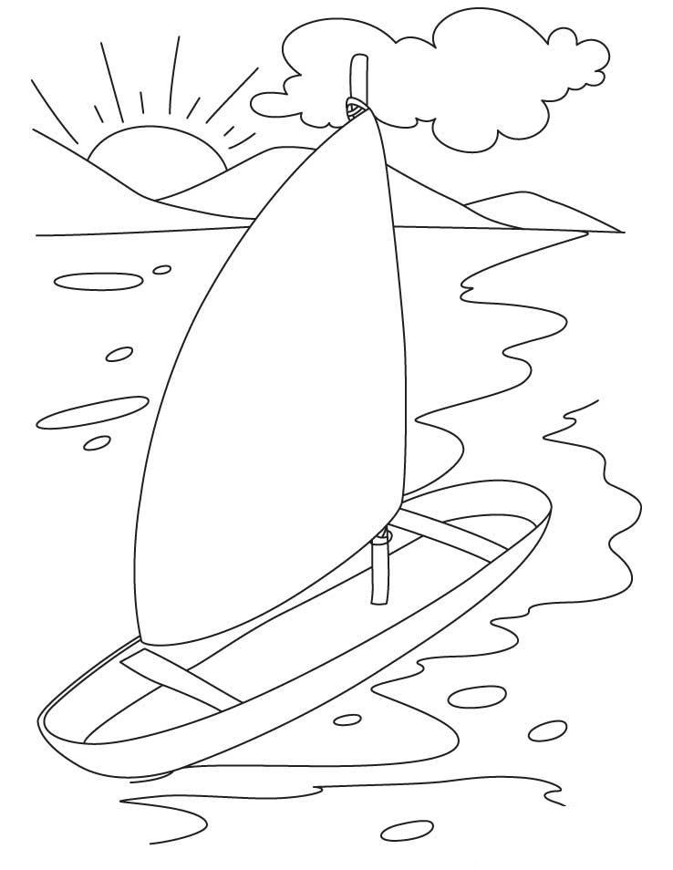 Лодка с парусом, берег, море, горы, солнце, восход, закат, облака Раскраски для мальчиков