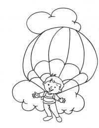 Мальчик летит на парашюте в окружении облаков Раскраски для мальчиков бесплатно