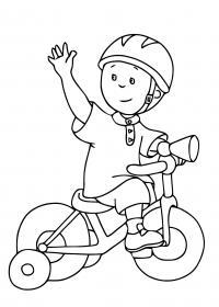 Мальчик машет рукой, катается на трехколесном велосипеде, ребенок Раскраски для детей мальчиков