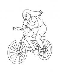 Девочка мчится на велосипеде Раскраски для детей мальчиков