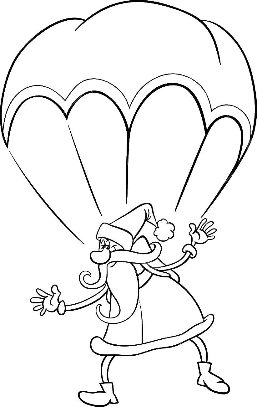 Дед мороз на парашюте парашюте Скачать раскраски для мальчиков