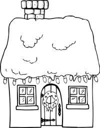 Дом украшенный лампочками к новому году, на двери весит рождественский веночек Скачать раскраски для мальчиков