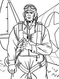 Парашютист возле самолета Раскраски для мальчиков бесплатно