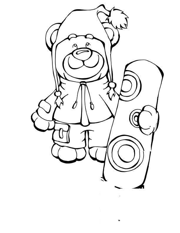 Плюшевый улыбающийся мишка со сноубордом Раскраски для детей мальчиков