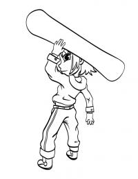 Ребенок со сноубордом Скачать раскраски для мальчиков