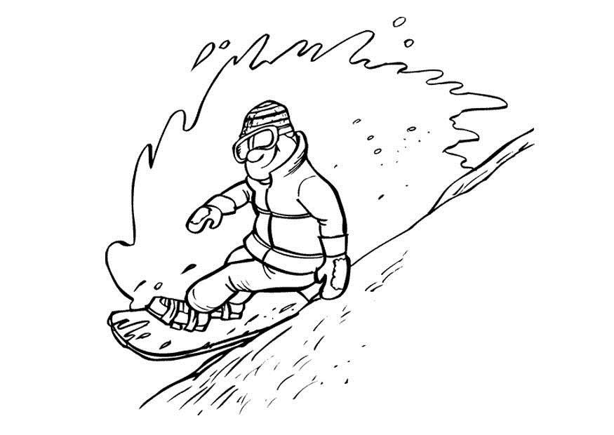 Сноубордист на всей скорости спускается с горы, снежная волна, зима, спорт Скачать раскраски для мальчиков