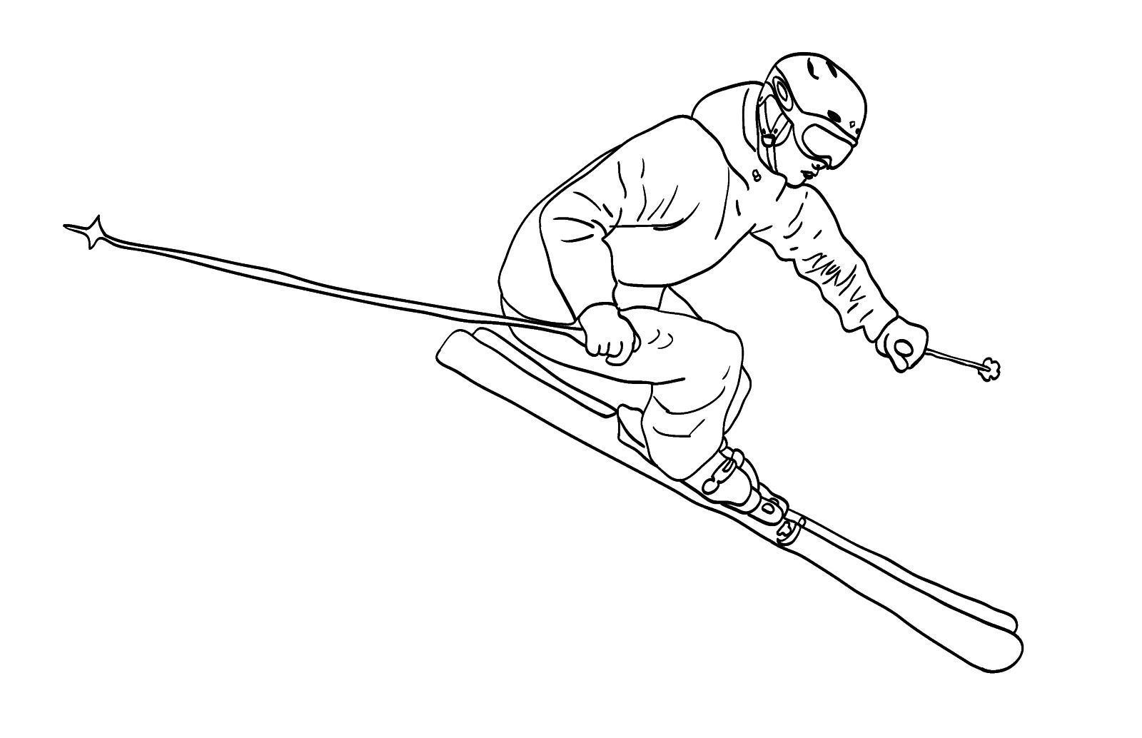 Маневрирование на горных лыжах Скачать раскраски для мальчиков