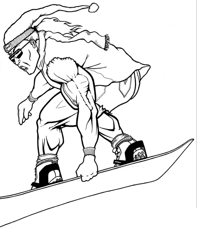 Сноубордист с криком мчится с горы Скачать раскраски для мальчиков