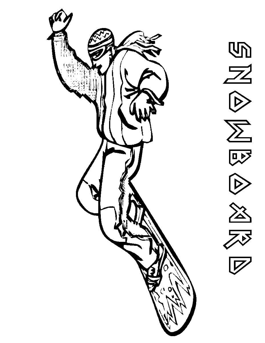 Сноубордист в воздухе Скачать раскраски для мальчиков