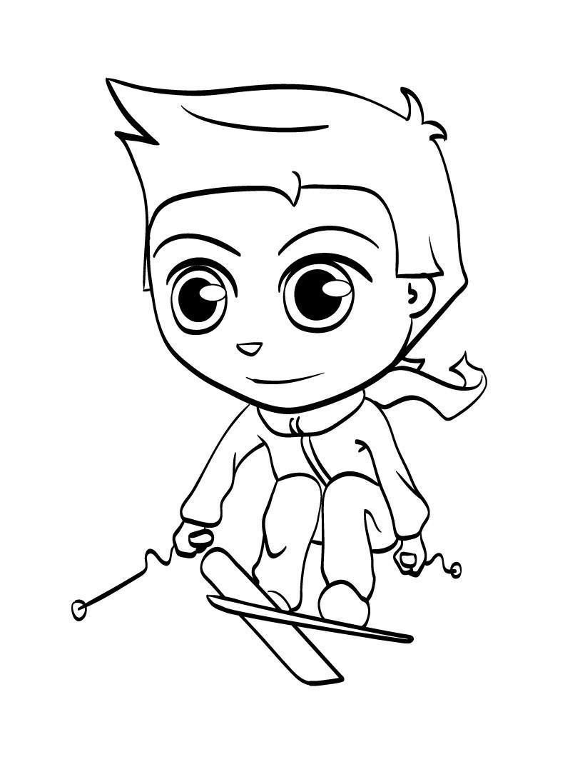 Мальчик на лыжах Скачать раскраски для мальчиков