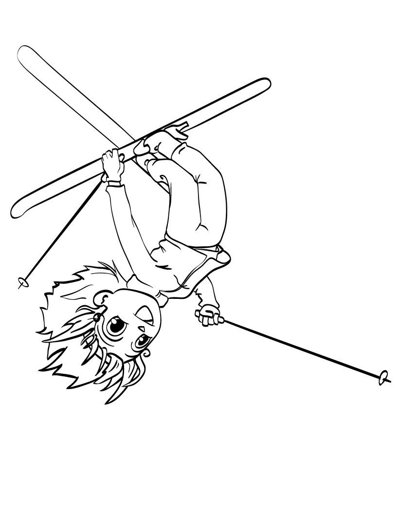 Пыржки на лыжах, ребенок на лыжах в воздухе к верх ногами Скачать раскраски для мальчиков
