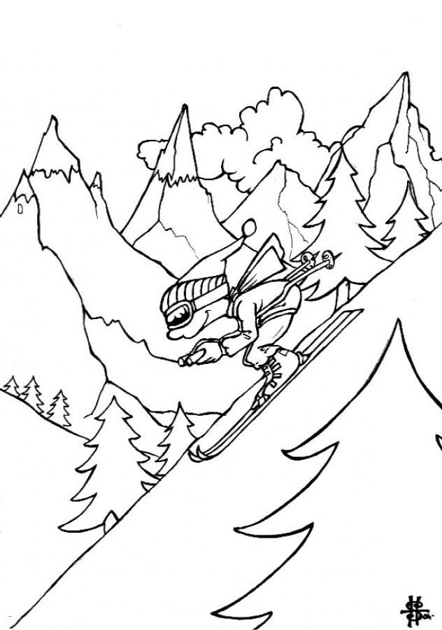 Скат с горы на лыжах, лес, елки, человек, спорт, зима, снег Скачать раскраски для мальчиков
