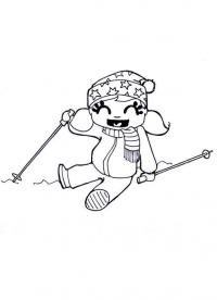 Девочка с лыжными палками Скачать раскраски для мальчиков