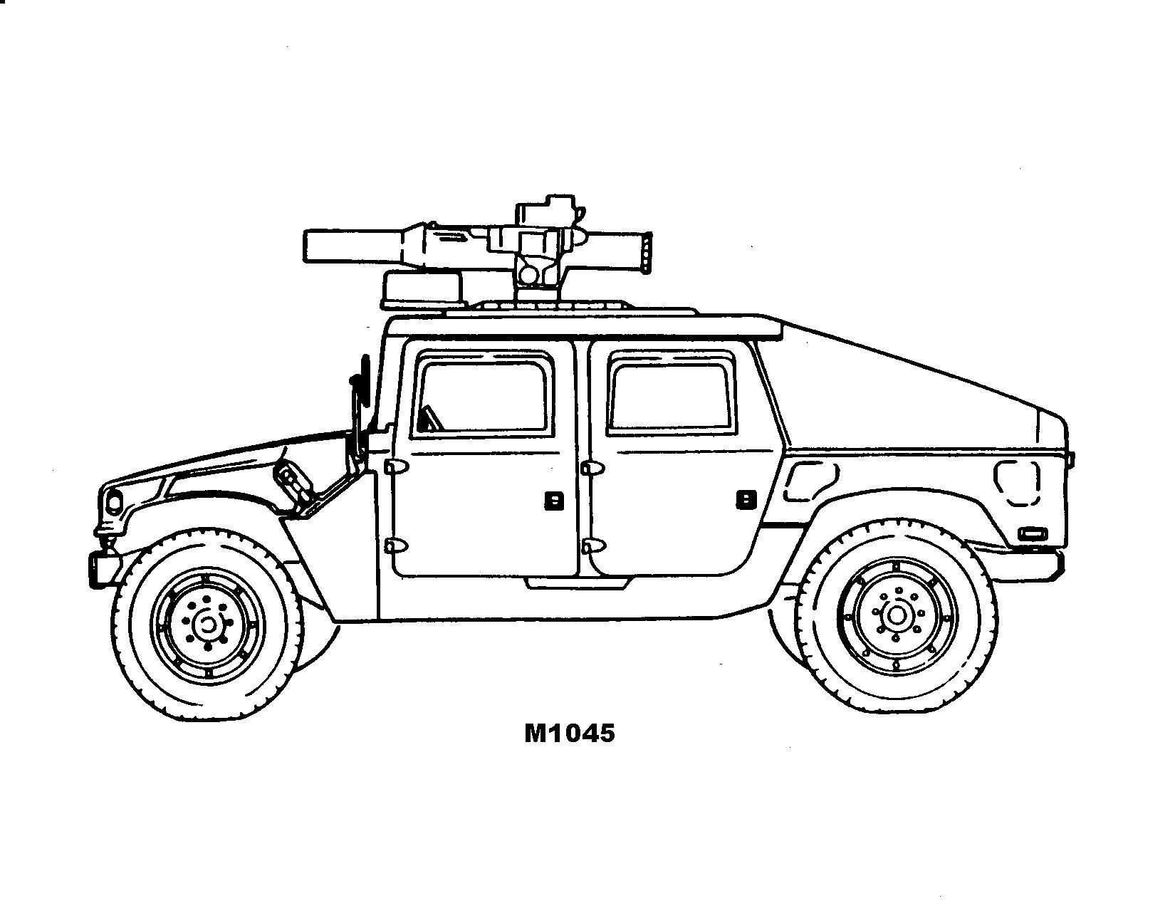 Военный джип м1045 Раскраски для мальчиков