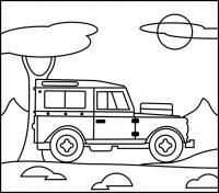 Джип едет по дороге вдоль деревьев, солнце спряталось за облако Распечатать раскраски для мальчиков