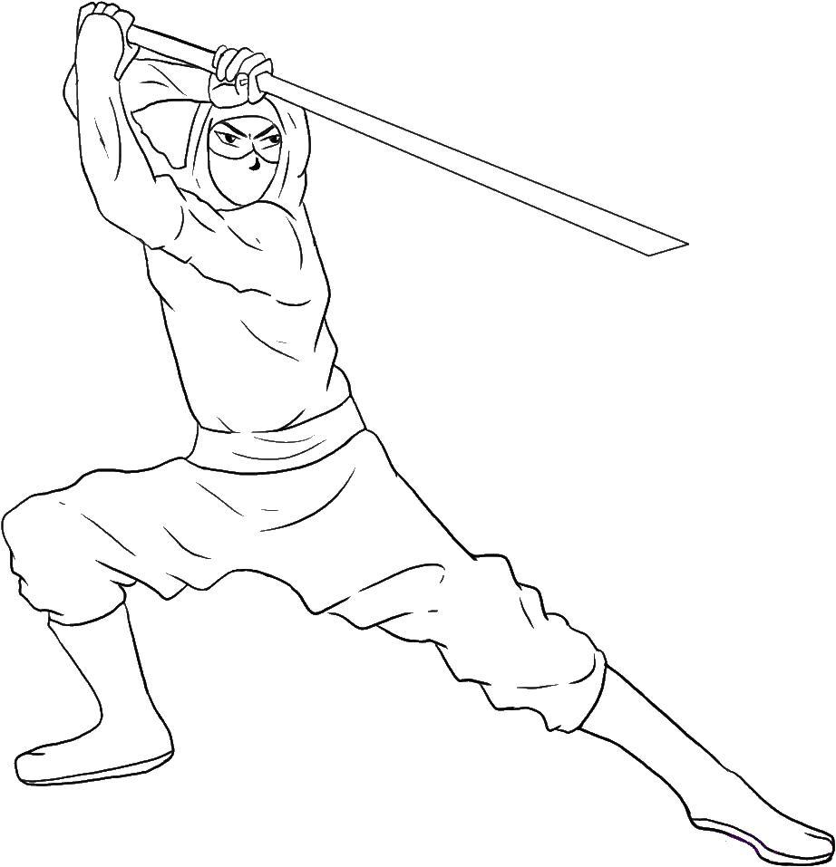 Ниндзя в сражении с мечом Раскраски для мальчиков