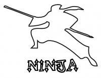 Ниндзя силуэт, контур, трафарет для вырезания Раскраски для мальчиков