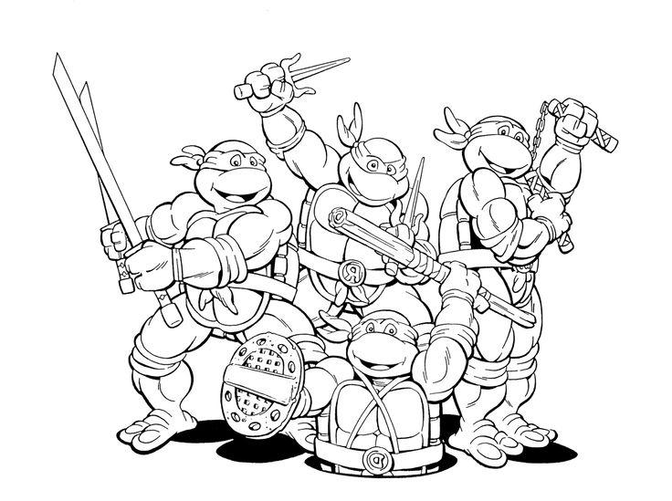 Четверка черепашек ниндзя Раскраски для детей мальчиков