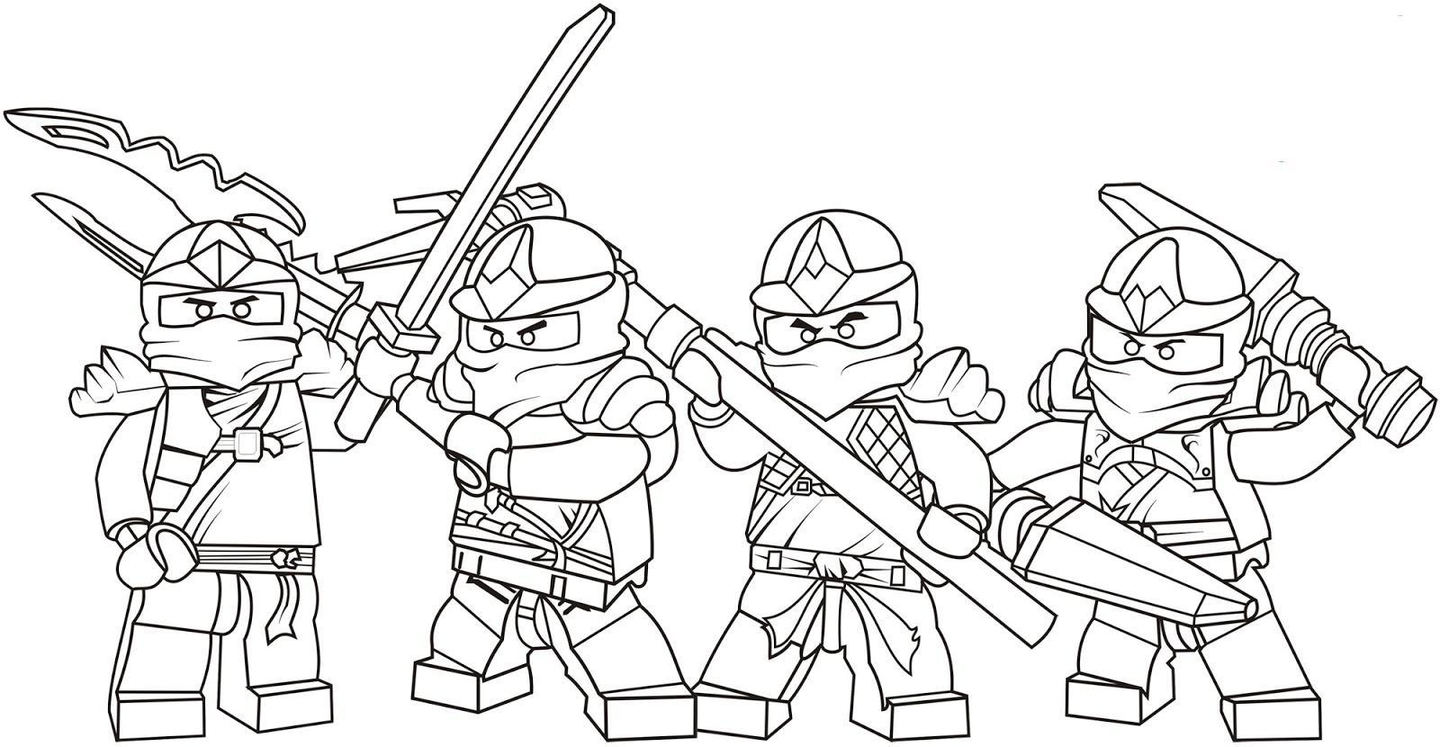 Лего ниндзя вся четверка Раскраски для детей мальчиков
