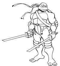 Черепашка ниндзя с обнаженными катанами Раскраски для детей мальчиков