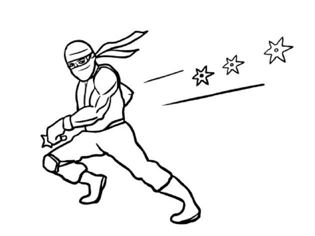 Ниндзя уворачивается от оружия звездочек Раскраски для мальчиков