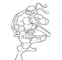 Черепашка ниндзя готов сражаться Раскраски для детей мальчиков