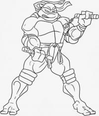 Черепашка ниндзя с оружием Раскраски для мальчиков