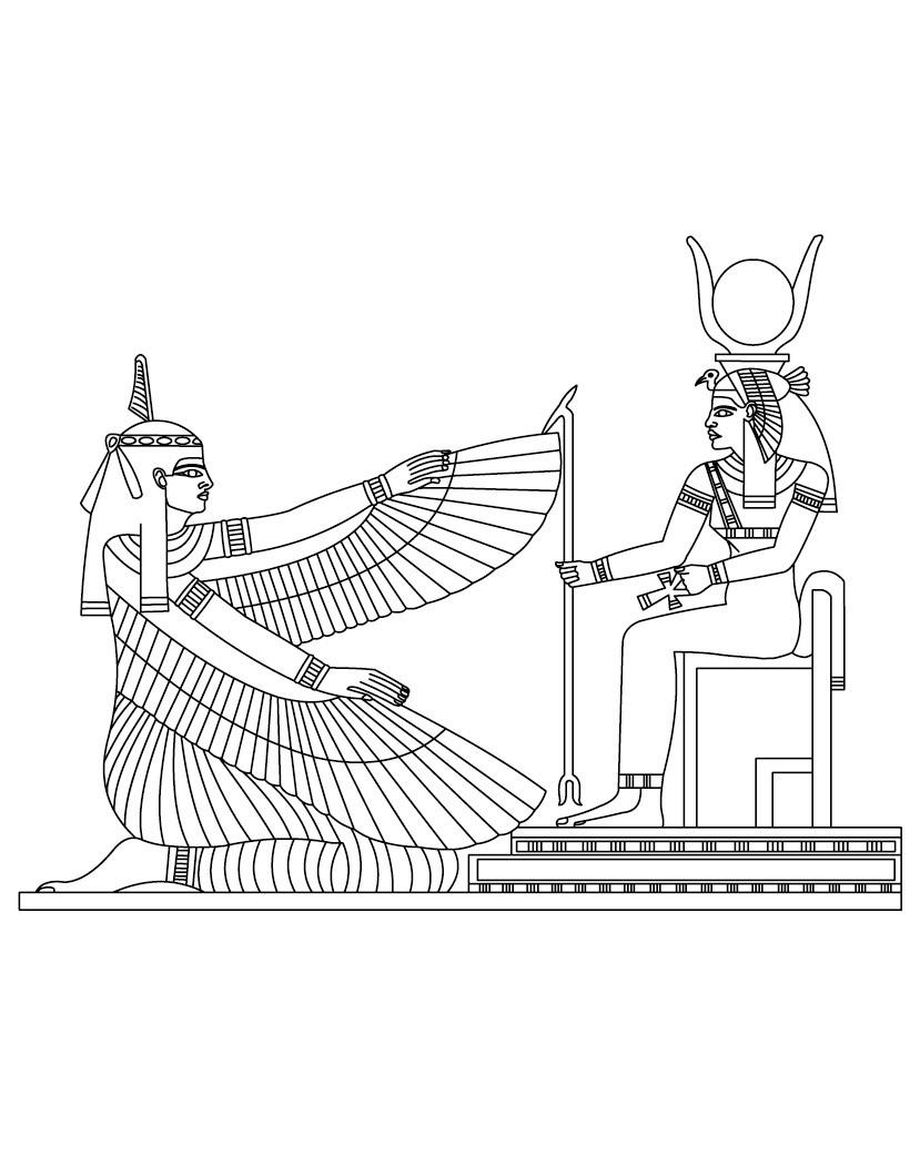 Древний мир, бог солнца и девушка с крыльями, египет Раскраски для мальчиков бесплатно