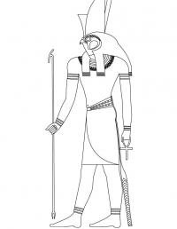 Древний мир, человек с головой птицы, бог египта Раскраски для мальчиков бесплатно