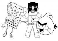Майнкрафт, спач боб и энгри бердс Скачать раскраски для мальчиков