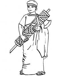Древний мир, человек с дровами и топором Раскраски для мальчиков