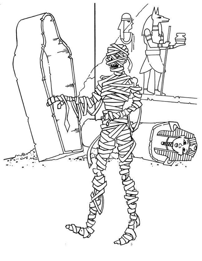 Древний мир, мумия из саркофага Раскраски для мальчиков