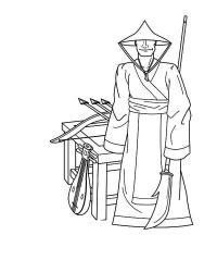 Древний мир, японец, копья, стрелы, музыкальный инструмент Раскраски для мальчиков