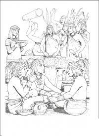 Древний мир, простой люд египта на отдыхе Раскраски для мальчиков